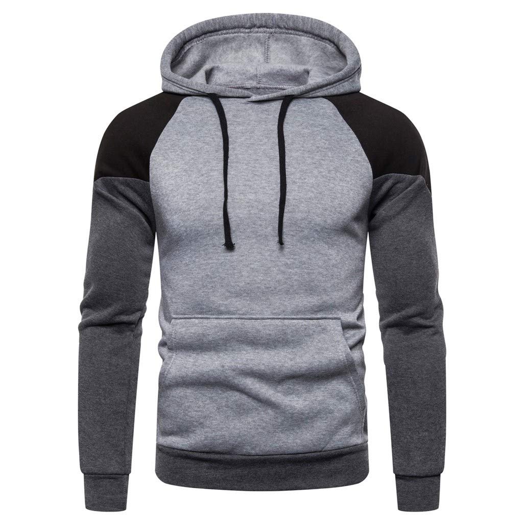 STORTO Mens Long Sleeve Hooded Sweatshirt Pullover Patchwork Pockets Outwear Tops Casual Jacket Coats
