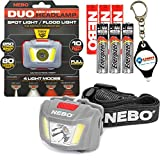 Nebo 6444 Duo LED Headlamp 250 Lumen Spot Light Flood Light Red Mode with 3x Extra Energizer AAA Batteries and LightJunction Keychain Light