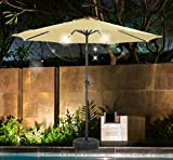 Cheap SHORFUNE Solar Powered 40 LEDs Lighted Patio Umbrella, Outdoor Umbrella with Crank and Push Button Tilt, Adaptor Included, Beige