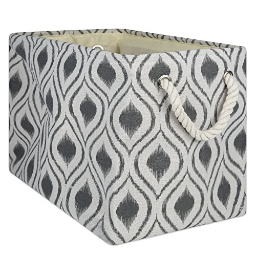 DII CAMZ10030 Collapsible Polyester Storage Basket Or Bin with Durable Cotton Handles, Home Organizer Solution for Office, Bedroom, Closet, Toys, and Laundry, Large-18x12x15, Ikat Mineral