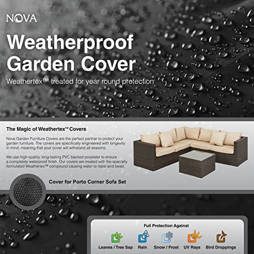 Nova PVC Backed Polyester Waterproof Fitted Outdoor Rattan Garden Furniture Cover for Small Corner Sofa Set