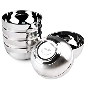 Stainless Steel Bowl, Kereda Stainless Steel Mixing Bowls 6 Pack Double Walled Insulated Metal Snack Nesting Bowl Set