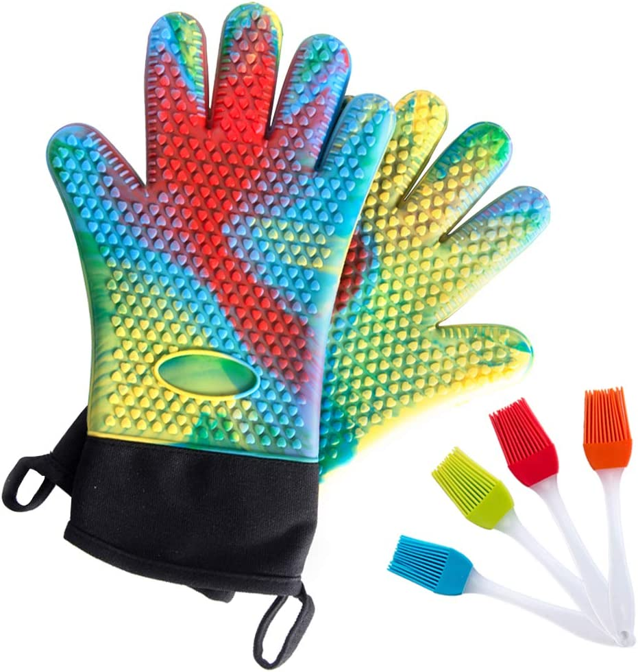 Florica Silicone Oven Mitts, 1 Pair Heat Resistant Oven Gloves with Bonus 1 Basting Brush - Non Slip Heavy Duty Cooking Gloves, Kitchen Oven Gloves for BBQ Grilling Cooking Baking, Multi Rainbow