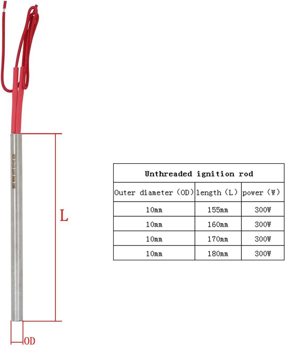 Longitud 140mm Resistencias para estufas de pellet 220v 250w /Φ 9.5mm bujia de encendido pellets 140 150 160 170 180mm