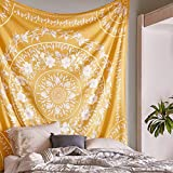 Simpkeely Sketched Floral Medallion Yellow Tapestry, Bohemian Mandala Wall Hanging Tapestries, Indian Art Print Mural for Bedroom Living Room Dorm Home Décor 59.1x80 Inches