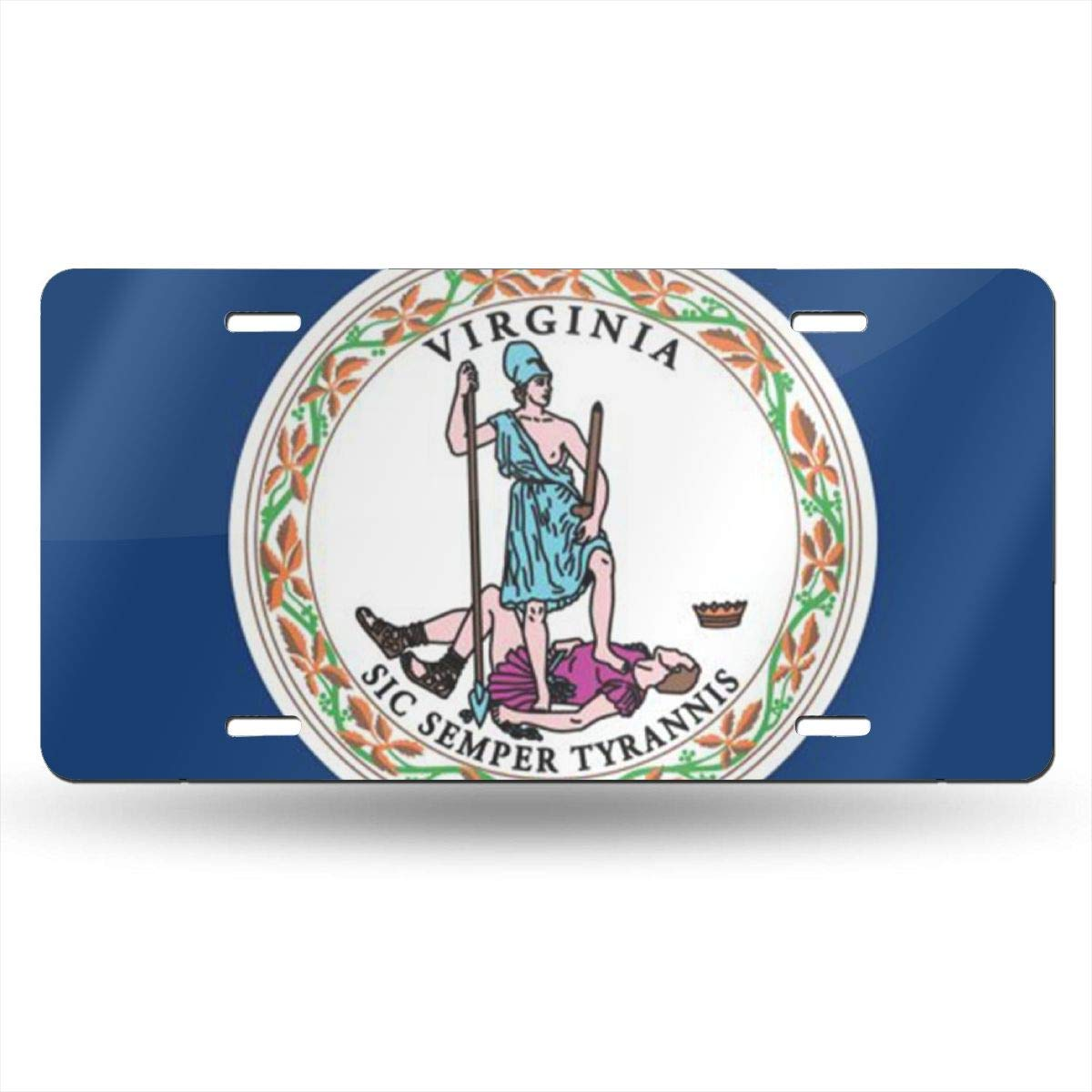 License Plate Covers & Frames PIOPIEK Virginia State Flag US License Plate Tag from 50 States in The United States,Customized Unique Printed License Plate,Suitable for All Cars,Used for Room Decoration,Bar Decoration License Plate Covers & Frames