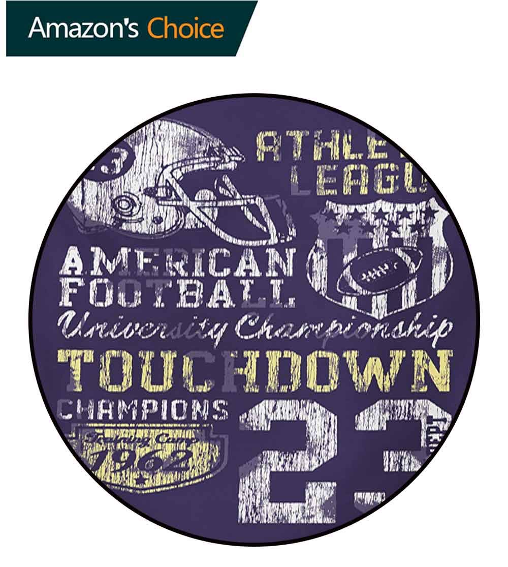 RUGSMAT Sports Modern Washable Round Bath Mat,Retro Style American Football College Theme Illustration Athletic Championship Apparel Non-Slip Bathroom Soft Floor Mat Home Decor,Diameter-51 Inch