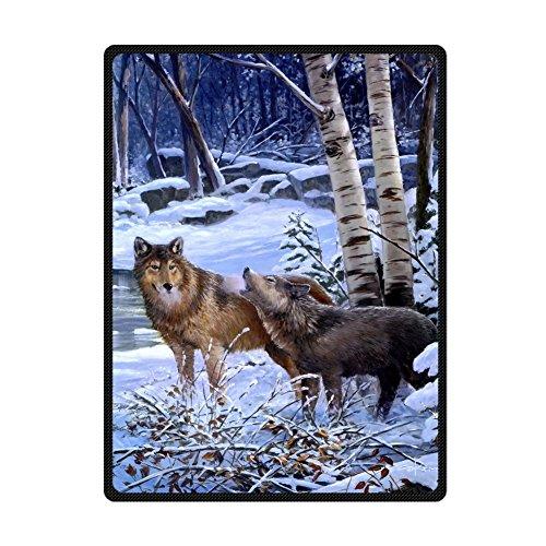 Custom Wolves Howling Snowfield Stream Supersoft Throw Fleece Blanket 58