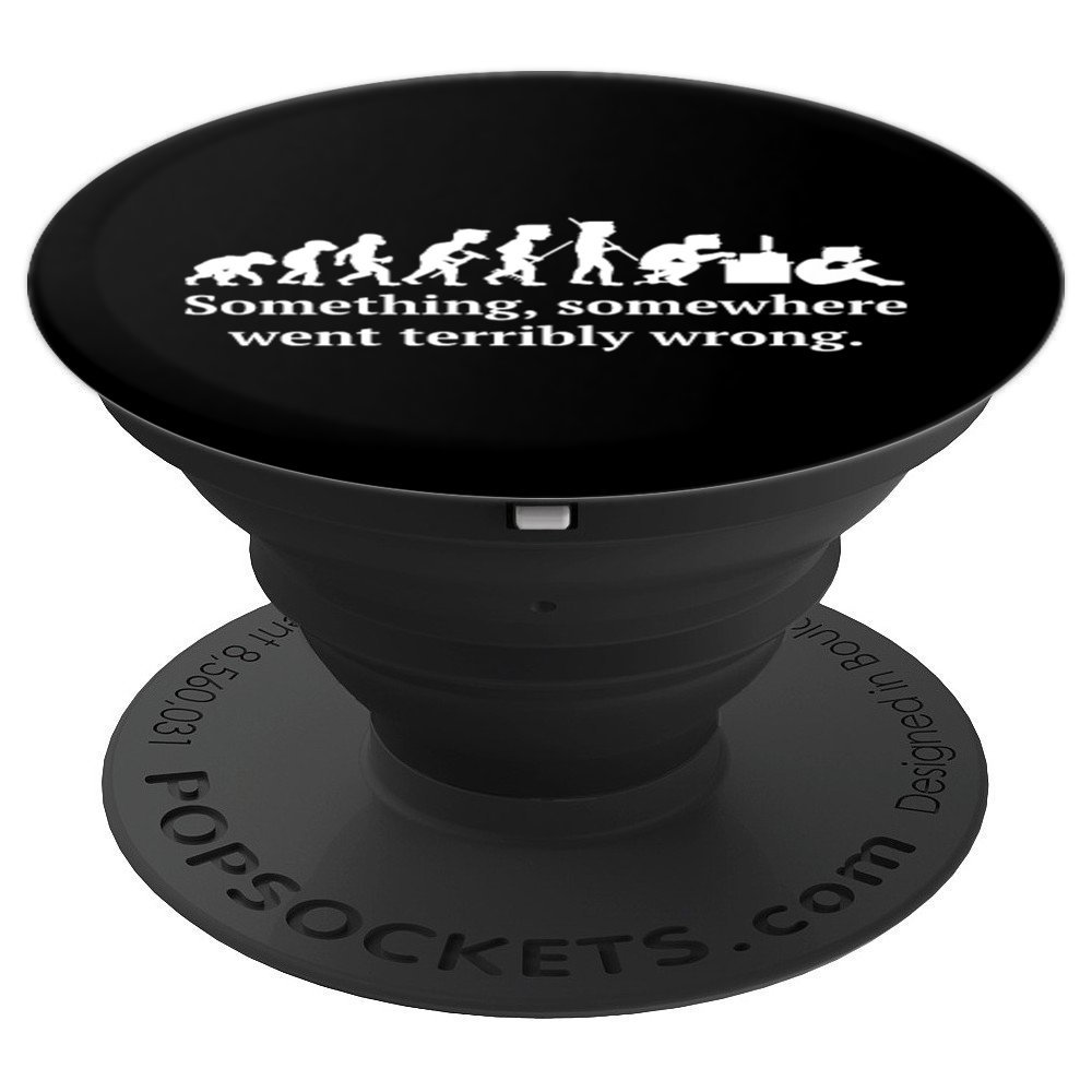 Funny Computing Evolving Desk Job - PopSockets Grip and Stand for Phones and Tablets by Morning glass