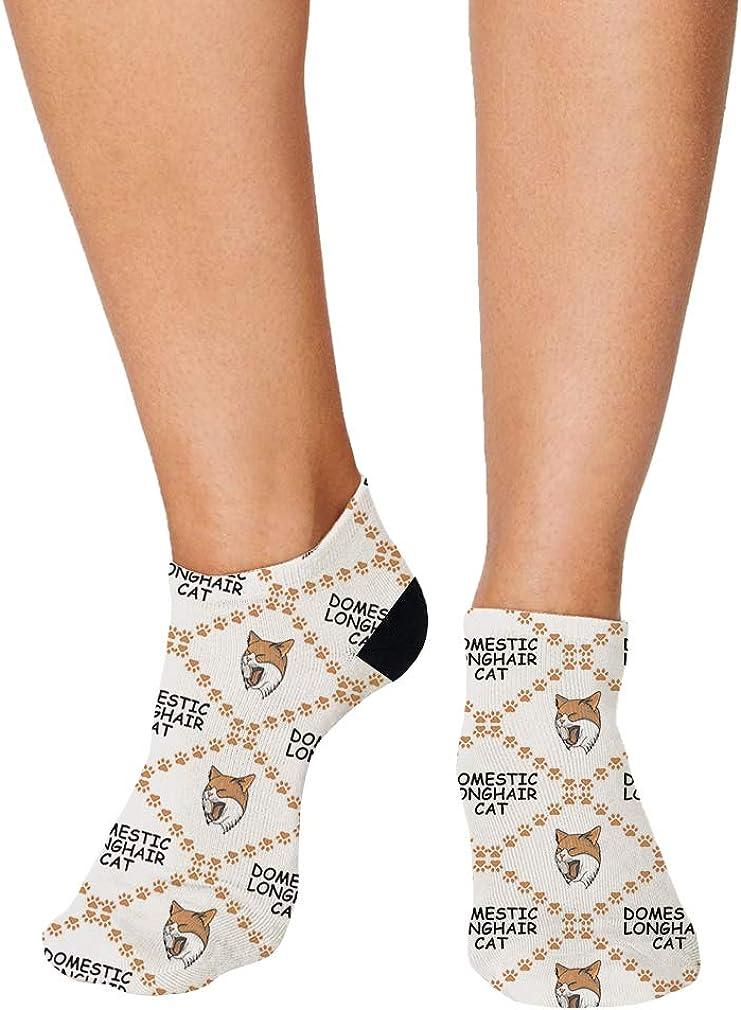 Domestic Longhair Cat Head Pattern #2 Men-Women Adult Ankle Socks
