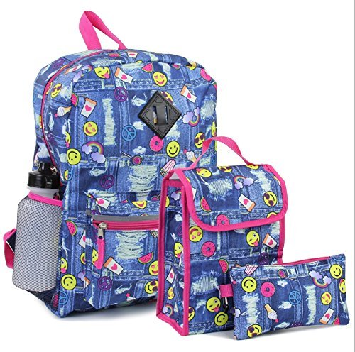 Girls Confetti Emoji 5 Piece Backpack Set. Denim/Emoji Style Print. Pack, Lunch Bag, Pencil Case & More (Gifts For Senior Night Basketball)