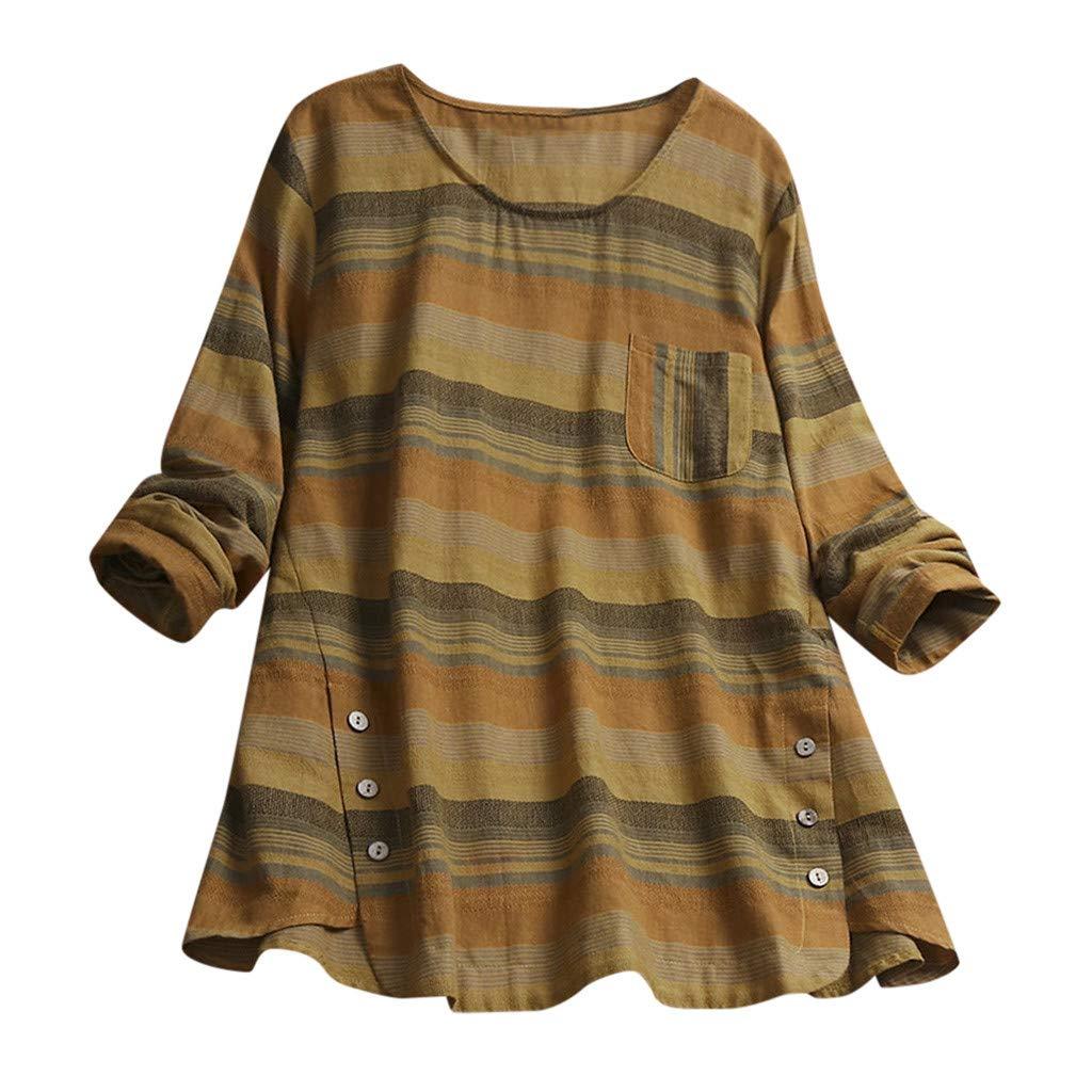 Likecrazy Damen T-Shirt Frauen Lose Leinen Hemd Bluse Sommer Tanktop Baumwolle Oberteil Tunika Plus Size Leinenshirt Streifen Sommershirt