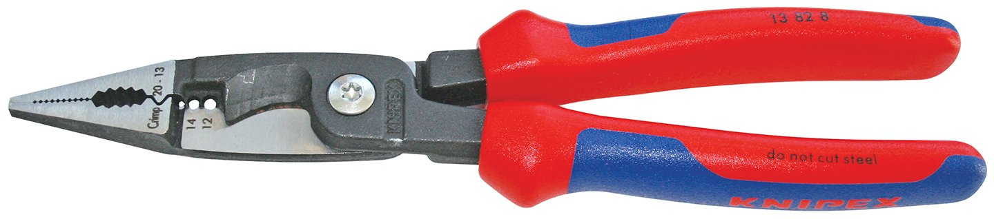 Knipex Tools 13 82 8, 6 in 1 Electrical Installation Pliers with Comfort Grip Handle, Red and Blue by KNIPEX Tools