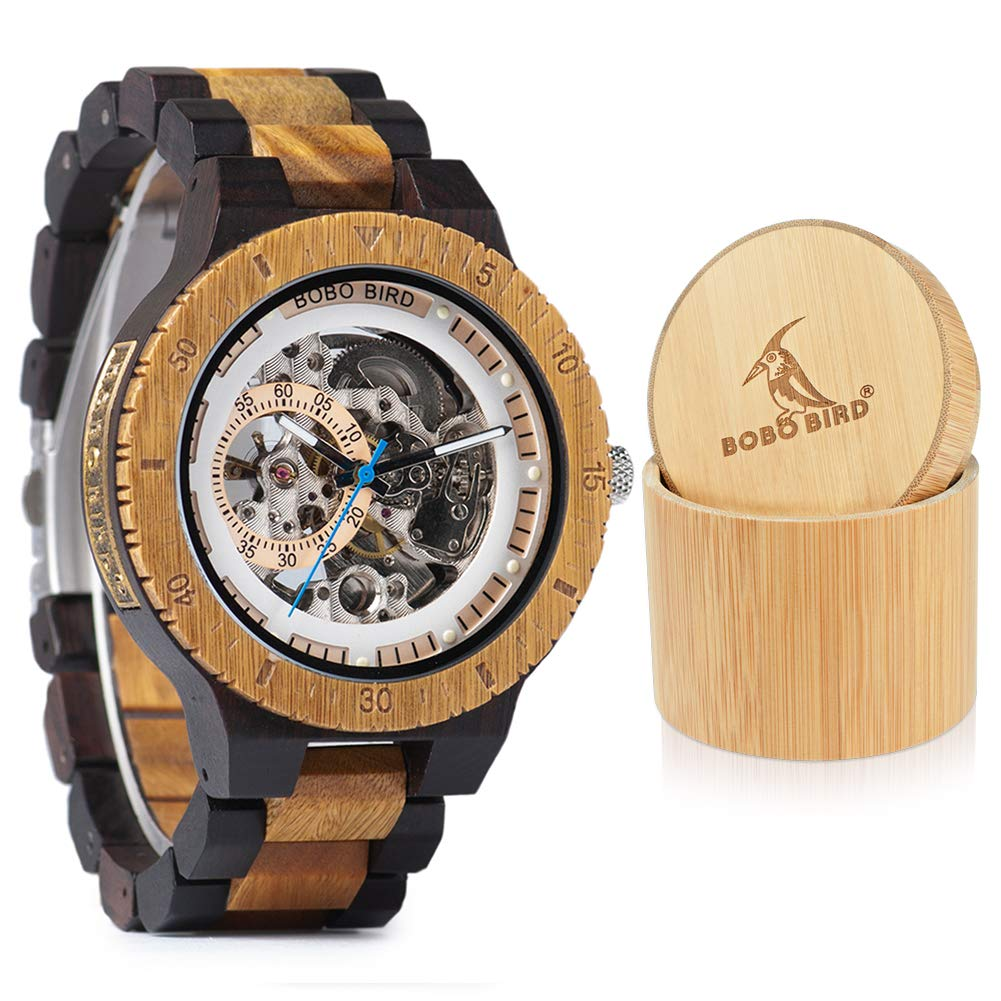 BOBO BIRD Mens Wooden Mechanical Watches Luxury Lightweight Large Size Watch for Men with Gife Box by BOBO BIRD