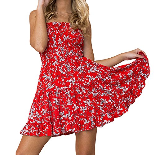 Zyyfly Flowy Strapless Dress for Women Sexy Ruffle Floral Mini Tube Dress Red L