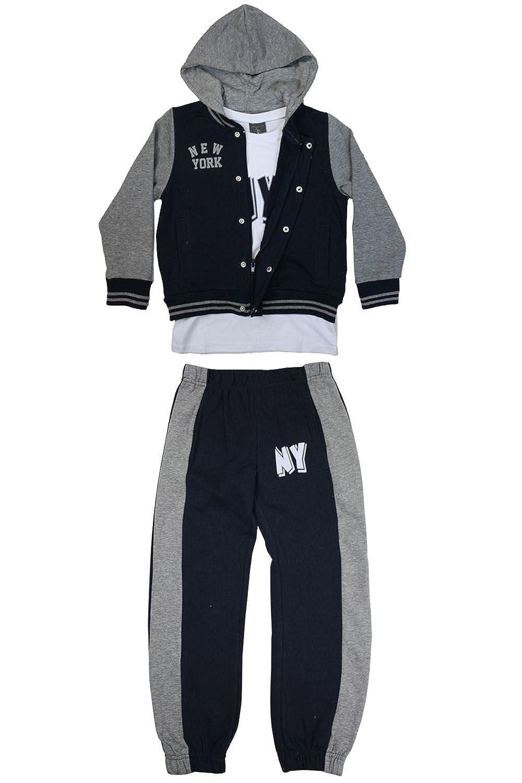 Be Jealous Kids Children Contrast Hoodie Long Sleeve Top Trouser Tracksuit 3 Pcs