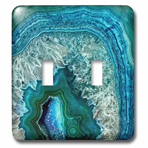 3dRose lsp_266902_2 Luxury Aqua Blue Marble Agate Gem Mineral Stone Toggle Switch, Mixed