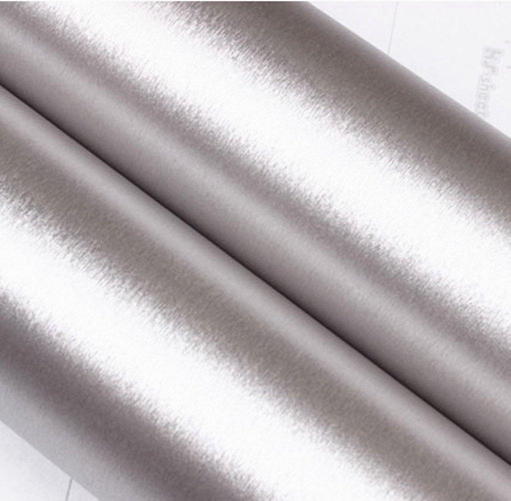 Moyishi Self Adhesive Waterproof Metallic Gloss Brushed Metal Silver Contact Paper Film Vinyl Shelf Line 24inX79inr (Silver)