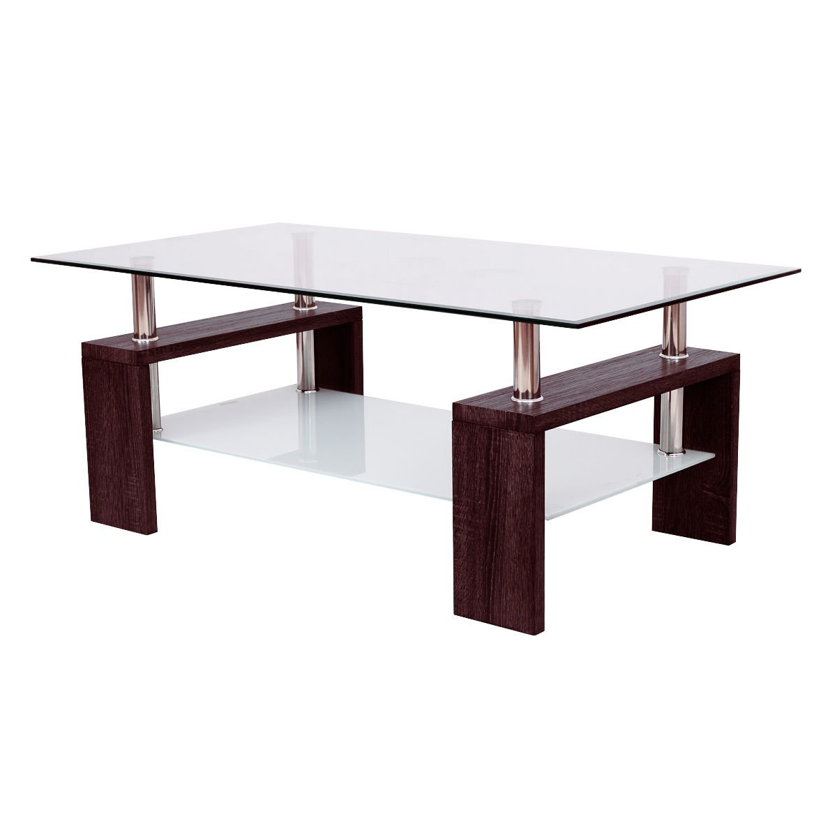Amazon com rectangular tempered glass coffee table w shelf wood living room furniture allblessings kitchen dining
