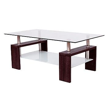 tangkula rectangular glass coffee table shelf living room furniture brown
