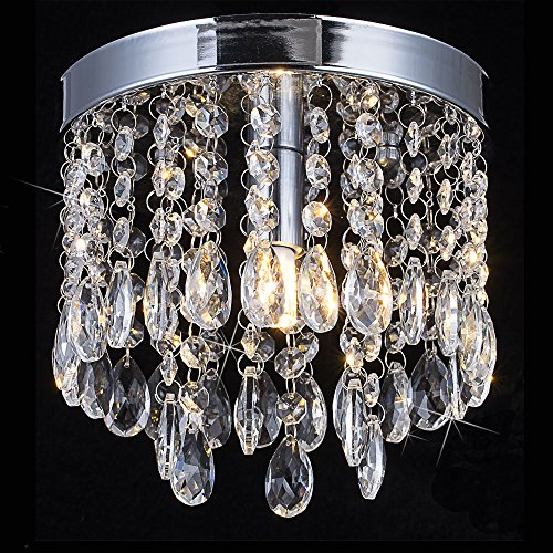 Floodoor Modern Crystal Chandelier Flush Mount Pendant Mini Ceiling Light Raindrop Fixture for Living Room Hotel Hallway Bedroom H6.9