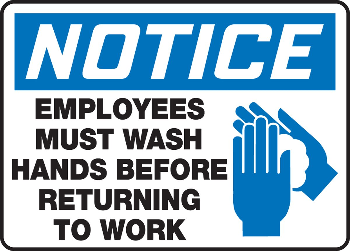 "Accuform""Notice Employees Must Wash Hands Before Returning to Work"" Safety Sign, Accu-Shield, 7 x 10 Inches (MRST811XP)"