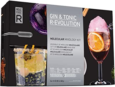 Molecule-R Gin & Tonic Molecular Mixology Tool Set | Tools for Avant-Garde Mixology include: 1 Slotted Spoon, 1 Spherification Silicone Mold, 2 Pipettes, 1 Oil Mister, 2 Syringe Tips, 1 Cinchona Bark