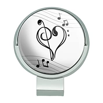 Graphics and More Treble Bass Notenschlüssel Herz Musik schwarz weiß Golf  Hat Clip mit magnetischem Ballmarker b4dd4870469d