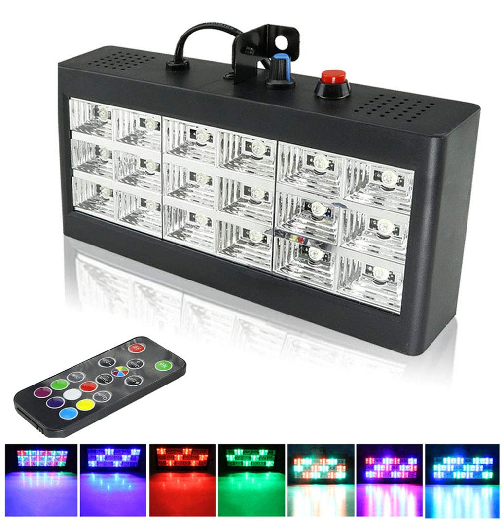 Strobe Lights, AZIMOM 18 LED Stage Light for Parties RGB Flash Stage Lighting with Remote Control Sound Activated Adjustable Portable for Halloween Disco Bar Wedding Party KTV Concert by AZIMOM