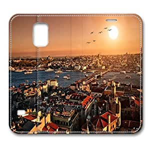Leather Samsung Galaxy S5 Case, Sunset Over Istanbul Smart Case Cover for Samsung Galaxy S5 with Stand Feature Auto Wake Up / Sleep, Original Design And Made By PhilipHayes