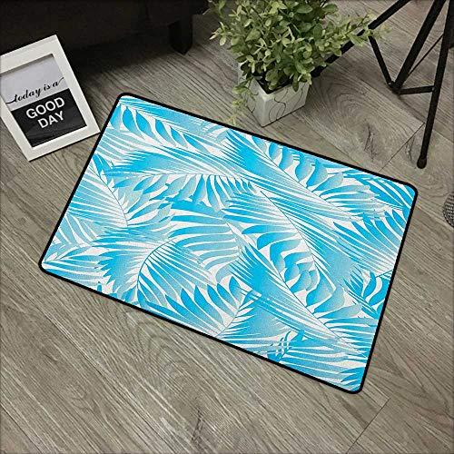 Bathroom Door mat W24 x L35 INCH Leaf,Miami Tropical Aquatic Palm Leaves with Exotic Colors Modern Summer Beach, Turquoise Aqua Blue Non-Slip Door Mat Carpet