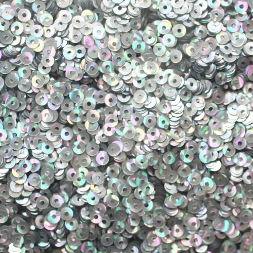 (3mm Flat Round SEQUIN PAILLETTES ~ SILVER PRISM MULTI Reflective METALLIC ~ Loose sequins for embroidery, bridal, applique, arts, crafts, and embellishment. Made in USA.)