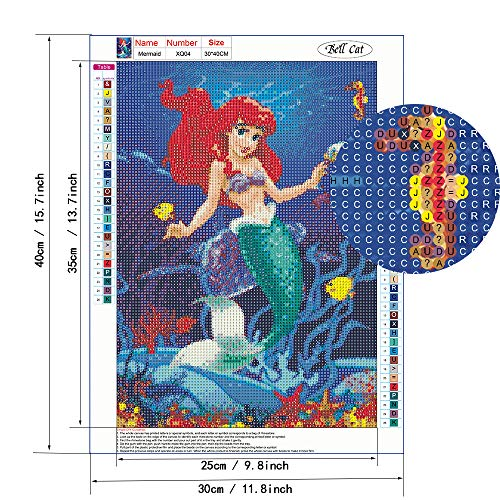 BELLCAT Mermaid 5d Diamond Painting Kits- Full Coverage, Round Rhinestone, DIY Tool Kit Art Supplies- Fun Gifts for Adults & Children, Craftwork for Indoor Decoration, (Canvas:12\