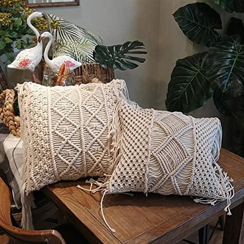 Amagabe Lot de 2 Housse de Coussin 45 x45 cm Cotton Fait Main Decoration Maison Salon Chambre pour Canap/é 100/% Coton Beige