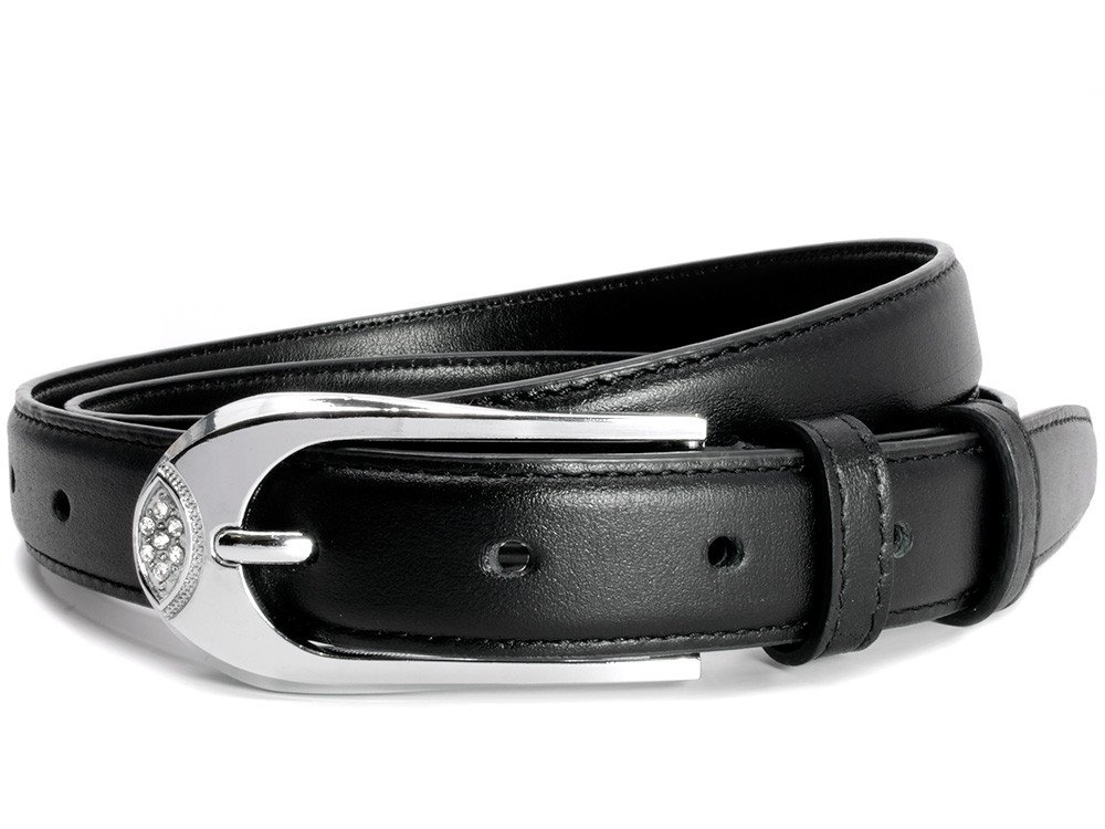 Nickel Smart - Black Bedazzled Belt - Thin Genuine Leather Belt with Nickel Free Buckle - 34''