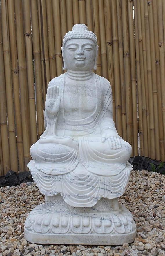 Asia Lifestyle Jardín Buddha estatua (100 cm) de mármol piedra Buda Escultura con especial mármol: Amazon.es: Jardín