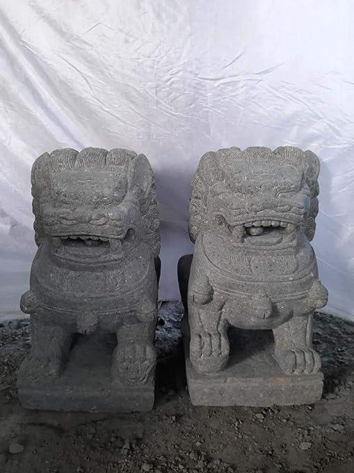 wanda collection Dos estatuas jardín Perro Fu león Piedra volcánica 60cm: Amazon.es: Hogar