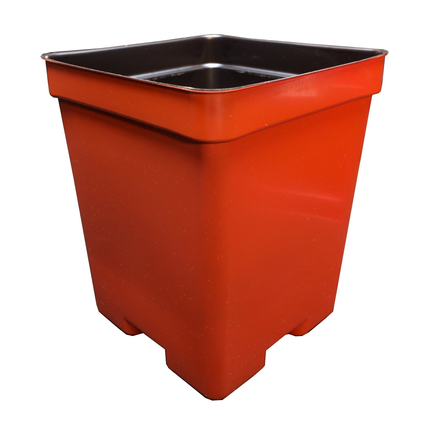 4.5'' Square Deep Press Fit Plastic Flower Pots - Made in the USA - Reusable, Recyclable - Garden, Greenhouse, Hydroponics, Seed Starting (Actual Dimensions 4.125'' Square by 5'' Deep) (375, Terracotta) by Second Sun Hydroponics