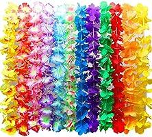 Myamy 36 Counts Hawaiian Leis Necklace Tropical Luau Hawaii Silk Flower Lei Theme Party Favors Wreaths Headbands Holiday Wedding Beach Birthday Decorations 3 Dozens