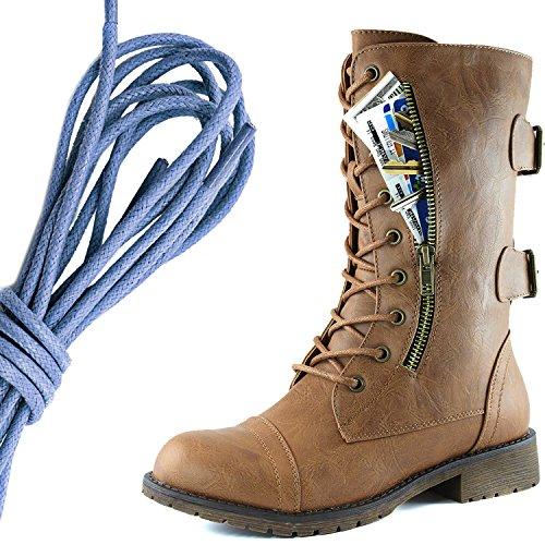 Dailyshoes Femmes Lace Militaire Boucle Boucle Bottes De Combat Mi Genou Haute Carte De Crédit Exclusive Poche, Royal Blue Slim Tan