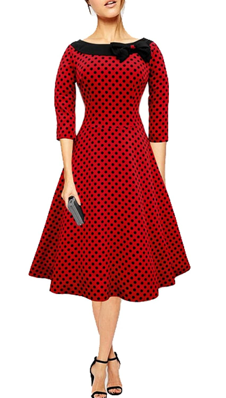 Lecheers Damen Boat-Ausschnitt A-Linie Polka Dots Langes Kleid ...