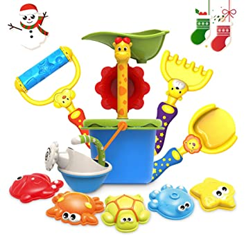 KIDS BEACH SAND TOY SET 4 Piece Tools Child Play Ocean Shovel Water Pail Crab
