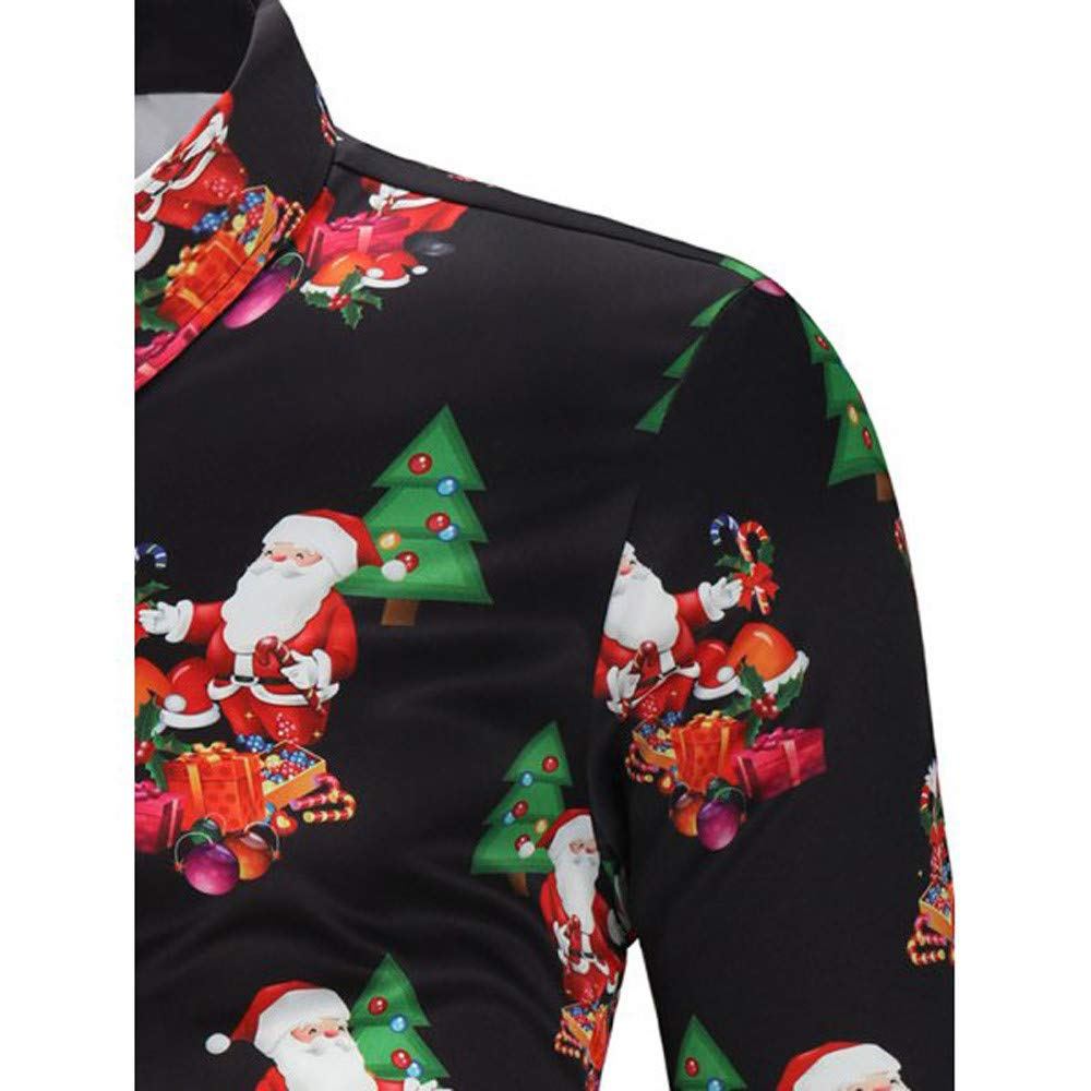 NUWFOR Men Casual Snowflakes Santa Candy Printed Christmas Shirt Top Blouse(Black,US:M Chest35.3) by NUWFOR (Image #5)