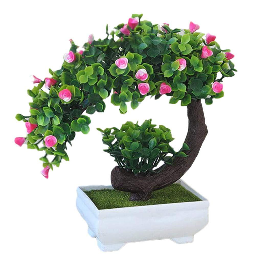 Una pianta Artificiale con di False Fiori Violet gaeruite simulez Il Bonsai Artificiale a Forma di Crescente di Rosa con Un Vaso di Fiori Comme montr/é Fiori Artificiali in plastica in Un Vaso