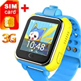 3G GPS Tracker Kids Smart Watch TURNMEON Wristwatch with SIM SOS WIFI Android Wear Camera Touch Smartwatch Parent Control app for Smartphone (Blue)