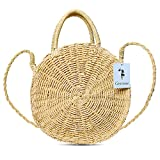 Gerosse Straw Shoulder Bag Round Top Handle Handbag for Women, Ladies Summer Beach Bag (brown)