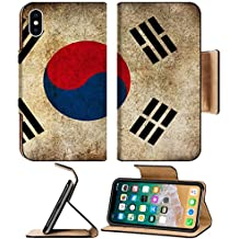 MSD Premium Apple iPhone X Flip Pu Leather Wallet Case IMAGE of flag symbol country background patriotic national patriotism grunge korean illustration korea south old