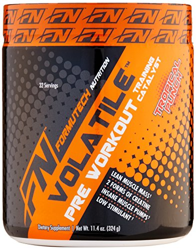 Formutech Nutrition Volatile Pre Workout Powder, 2 Forms of Creatine for Huge Muscle Pumps and Lean Muscle Mass, Low Stimulant Formula, Tropical Punch, 32 Serving