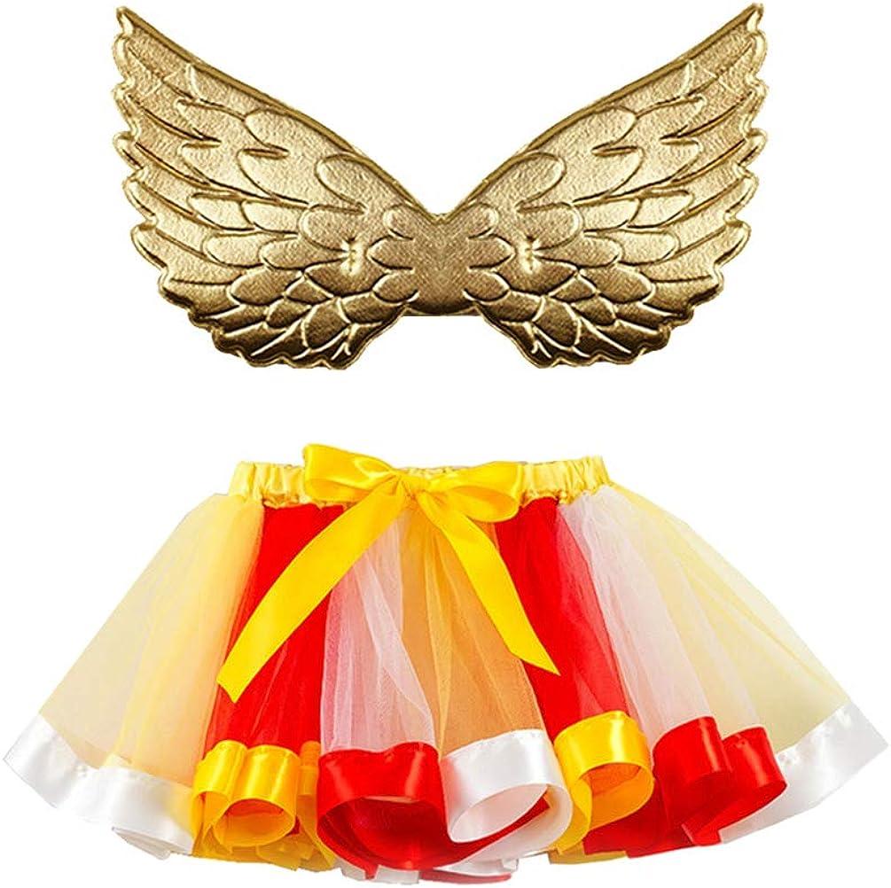Amosfun Disfraz de Hada tutú Falda Amarilla roja Talla m ala Dorada Carnaval Cosplay Vestido Fiesta de cumpleaños Fiesta Baile Rendimiento Vestido