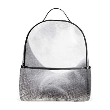 5264f01f08f4 Amazon.com | White Wolf And Moon School Backpack for Girl/Boys ...